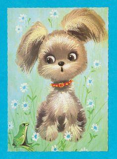 Vintage big eyed post card 70s. Cute dog