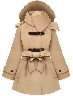 Beige Removable Hooded Long Sleeve Drawstring Coat
