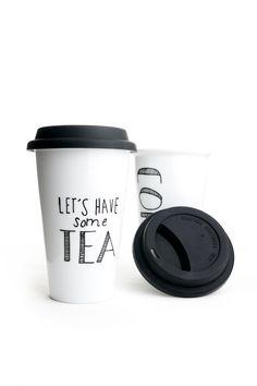 Have some tea<3 Porseleinen mok met silliconen deksel te koop bij Toef Wonen www.toefwonen.nl http://www.toefwonen.nl/c-2216919/keuken-tafel/