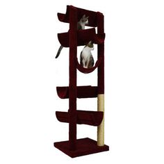 "Molly and Friends 86"" The Alleyway Cat Tree Color: Medium Blue, Poles Color: Brown"