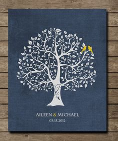 Customized Family Tree Art Print, Love birds in tree, heart initials,anniversary gift 8 x 10 poster Custom colors and fonts. $20.00, via Etsy.
