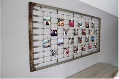 Crib Spring Photo Display. This would be awesome when you don't need the crib anymore.