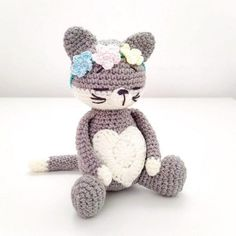 With this free amigurumi pattern you will get a cat about 25 cm high with ears. To create this cat you'll need 2 mm crochet hook and NAKO Baby Marvel Petit yarn. Amigurumi Doll Pattern, Crochet Cat Pattern, Crochet Amigurumi Free Patterns, Crochet Bear, Crochet Toys, Free Crochet, Amigurumi Minta, Animal Knitting Patterns, Stuffed Animal Patterns