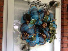 Beautiful and elegant peacock wreath by SimplyAdoorable12 on Etsy