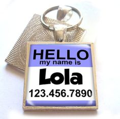 Dog and Cat Id Hello My Name Is Square Lavender Regular 1 116 *** Click image to review more details.(This is an Amazon affiliate link and I receive a commission for the sales) #DogIDTags