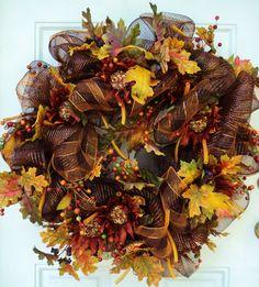 Thanksgiving Deco Mesh Wreaths | Fall Deco Mesh Wreath Thanksgiving Wreath Chocolate and Sunflowers XXL