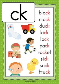 Digraph CK: Phonics Word Work {Multiple Phonograms} by Lavinia Pop Phonics Flashcards, Phonics Rules, Phonics Lessons, Jolly Phonics, Phonics Worksheets, Phonics Activities, Kindergarten Reading Activities, Kindergarten Phonics, Work Activities