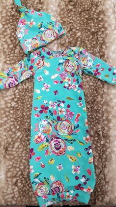 907c7c4371e Baby Outfit - Teal Floral Gown and Hat