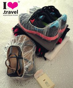 Shower cap shoes... keep luggage clean. Great packing tips including comprehensive packing check list here - www.ilove.travel