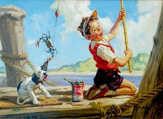 Oil on Canvas Painting, signed, Boy & Dog Crab Fishing. Art And Illustration, Art Drawings For Kids, Art For Kids, Boy Dog, Norman Rockwell, Fish Art, Beautiful Paintings, American Artists, Gouache