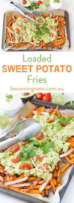 These Loaded Sweet Potato Fries are guaranteed to be a regular feature in your household. It is a low cost meal which is super easy to prepare and it tastes absolutely amazing Paleo Recipes, Whole Food Recipes, Free Recipes, Clean Eating, Healthy Eating, Healthy Foods, Healthy Life, Loaded Sweet Potato, Healthy Slow Cooker