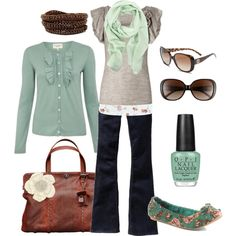 Love the gray and mint green, floral accents and awesome brown bag