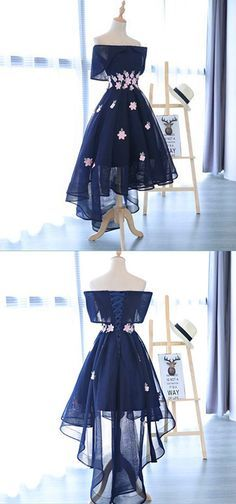 A-Line Dark Navy High-Low Appliques Short Homecoming Dress