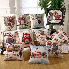Venda quente 45 x 45 cm / 17.7 x 17.7 '' coruja impresso almofada para sofá , sofá de algodão de linho decoração sofá frete grátis em Almofadas de Casa e Jardim no AliExpress.com | Alibaba Group