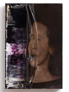 Double face...smeared with paper?  2013, oil on wood, 31 x 21 cm