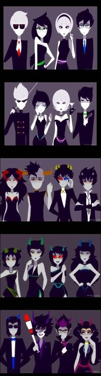 ((Ooh- Snazzy dressed Homestuck characters- Yes, I like this very much, so classy.))