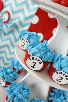 Thing 1 & Thing 2 Cupcakes! Via Kara's Party Ideas karaspartyideas.com