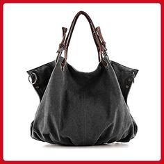 BMC Charcoal Black Denim Multi Zipper Pocket Oversized Lined Fashion Handbag Satchel Shopper Tote - Top handle bags (*Amazon Partner-Link)