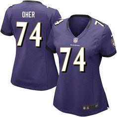 Nike NFL Baltimore Ravens 74 Michael Oher Elite Women Purple Team Color Jersey Sale