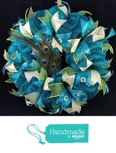 Peacock Deco Mesh Wreath Blue Green Gold Feathers Home Door Wall Decor 24 inch from JKatsKreations