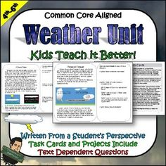 This Weather Unit is written from a student's perspective. It teaches the students about the how's and why's of weather. It is done in a creative way with higher level concepts that are simplified for the students.Topics Covered:Factors that Affect TemperatureTypes of Cloud FormationHigh and Low Pressure SystemsHurricanesTornadoesWindand more!The packet has text dependent questions, task cards, and multiple project ideas,Great for grades 4-6! #tpt #weatheractivities