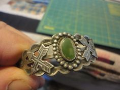 Fred Harvey Era Coin Silver Products Turquoise Cuff Bracelet 5.5' #SilverProducts #Cuff