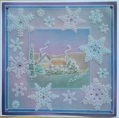 Artwork designed by Barbara Gray using Clarity stamps and products. The home of clear stamps. Snowflake Cards, Paper Snowflakes, Christmas Snowflakes, Christmas Crafts, Christmas Baubles, Vellum Crafts, Paper Crafts, Clarity Card, Snow Flakes Diy
