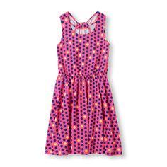 Girls Sleeveless Dot Print Cross-Back Dress - Pink - The Children's Place