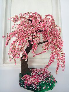 Items similar to Sakura bonsai tree Cherry blossom Gardening gift Wire wrapped tree Gifts handmade Office decor Wire tree sculpture Beaded tree on Etsy Cherry Blossom Bonsai Tree, Blossom Trees, Lavender Wedding Centerpieces, Bonsai Wire, Wire Tree Sculpture, Wire Trees, Wire Crafts, Bead Crafts, Garden Gifts