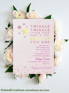 Miracle Twinkle Photo Birth Announcement - Customize this adorable 2-sided baby announcement with your favorite photo and your choice of ink and foil colors.   Click now to shop this and many more baby announcements -  www.PrintedCreations.occasions-sa.com.  #babyannouncements  #birthanouncements