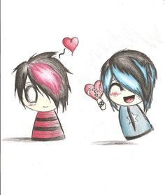 webcam - The World`s Most Visited Video Chat Dark Drawings, Couple Drawings, Love Drawings, Drawing Sketches, Drawing Stuff, Cute Easy Animal Drawings, Cute Little Drawings, Emo Love, Cute Emo