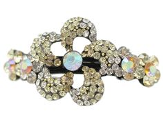 Yellow Rhinestone Studded Flower French Barrette Hair Clip >>> Details can be found by clicking on the image. Hair Barrettes, Hair Clips, How To Make Hair, Hair Care, Yellow, Detail, Bracelets, Rings, Flowers