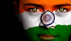 India Flag Painted on Face #Flag #Face #Paint