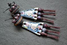 Boho earrings Art bead earrings Gypsy boho by JeSoulStudio on Etsy