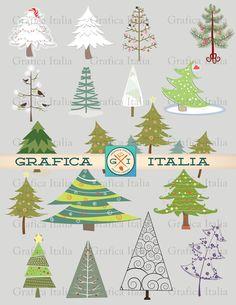 Christmas Tree Clipart - WHIMSICAL CHRISTMAS Clip Art Trees Graphic Design Elements Xmas DIY Digital Design Art by graficaitalia on Etsy