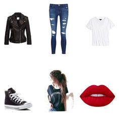 """""""Rocker style"""" by hufflepuff394 on Polyvore featuring Anine Bing, Topshop, J Brand, Converse, Lime Crime, rockerchic and rockerstyle"""