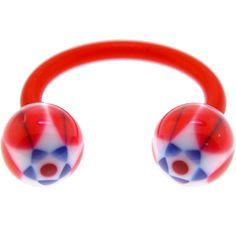 BIOPLAST Red BLOOMING STAR Circular Horse Shoe | Body Candy Body Jewelry