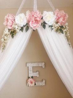 Nursery Room, Girl Nursery, Kids Bedroom, Nursery Decor, Girls Flower Bedroom, Bedroom Ideas, Master Bedroom, Bed Crown, Girl Bedroom Designs