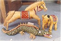 COIR CRAFT: Among the state's greatest contributions to the arts and crafts of the country are the artefacts made from coir fibre. The lightweight, yellow coloured fibres is moulded into animal and bird designs as well as decorative items. Some of the popular animal figures include horses, crocodiles and dinosaures.
