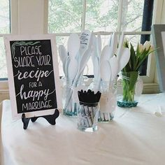 Spoons With Recipes for A Happy Marriage Bridal Shower Game