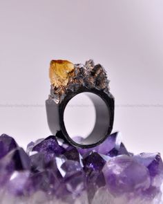 Citrine Crystal, Black, Handmade Ring, Gift for her, Trendy, Unique by UmayDesign on Etsy