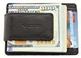Viosi Genuine Kingston Leather Black Front Pocket Money Clip Made with Powerful RARE EARTH Magnets and Gift Box   YOU WORK HARD FOR YOUR MONEY: That's why we use 2 – 20mm Rare Earth Magnets to hold on to your cash. We tested the rest and now you can buy the best. Rare-Earth magnets...