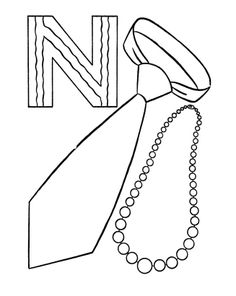N Is For Necklaces And Neckwear Coloring Pages