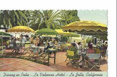 Vintage Linen Postcard La Valencia Hotel La Jolla CA California Dining On Patio