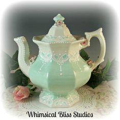 Whimsical Bliss Studios - Mint Springtime Teapot