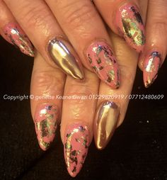 Gold chrome, gold leaf nail art, nude / pink gel polish over acrylic nails.