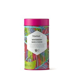 Teavana WInterberry Bais d'Hiver tea tin ... colourful leaf decoration on cylinder shape, with magenta lid, contains Xue Long green tea with fruit and flower bits, 2017