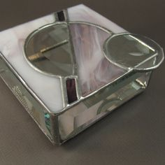 Plum and Clear Bevel Circle Stained Glass Box by JiSTglass on Etsy, $48.00