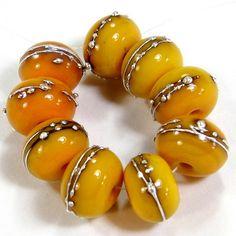 Medium Yellow Handmade Lampwork Glass Beads Opaque Shiny Silver 408gfs | Covergirlbeads - Jewelry on ArtFire