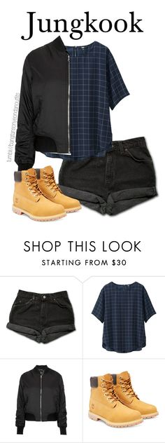 """""""What BTS would choose you to wear - Jungkook"""" by bangtanoutfits ❤ liked on Polyvore featuring Levi's, Uniqlo, Topshop, Timberland, kpop, bts, BangtanBoys and jungkook"""